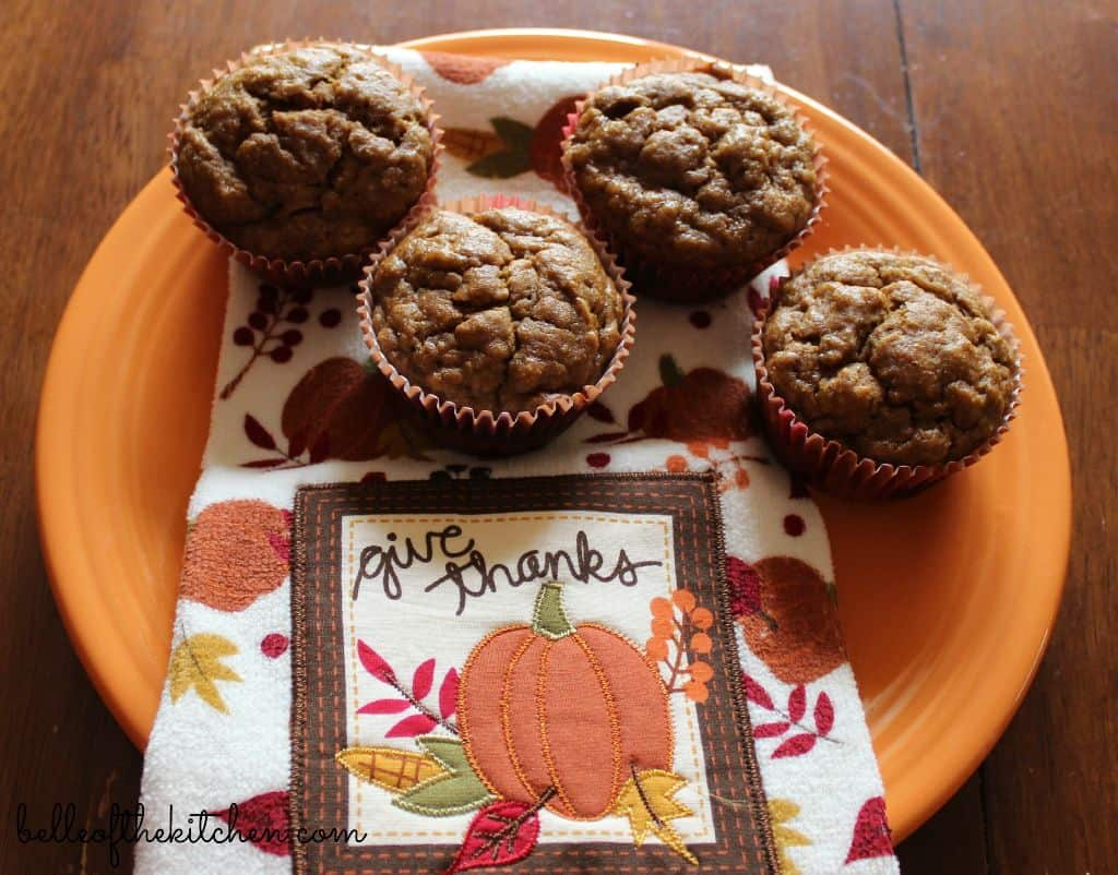 Pumpkin Banana Bread Muffins {Belle of the Kitchen}
