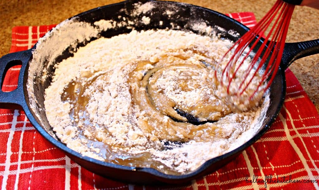 butter and sugar in a skillet with flour