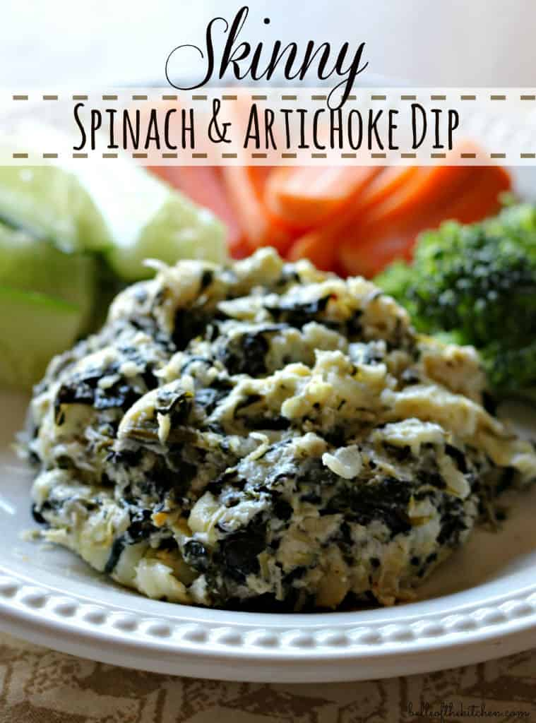 Skinny Spinach and Artichoke Dip - Belle of the Kitchen