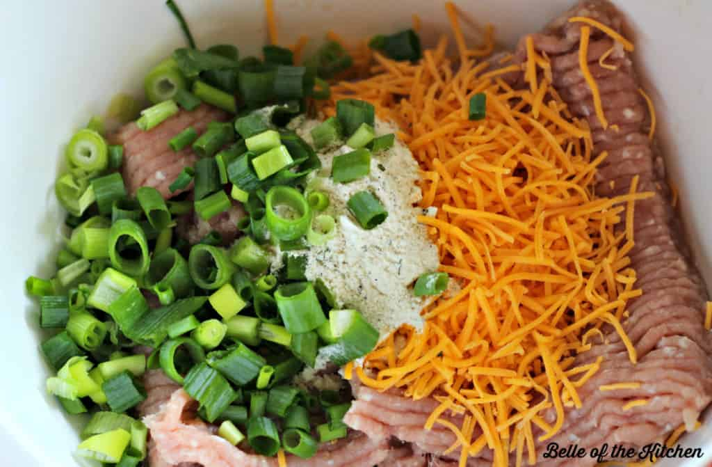 A bowl of ground turkey, green onions, and cheese