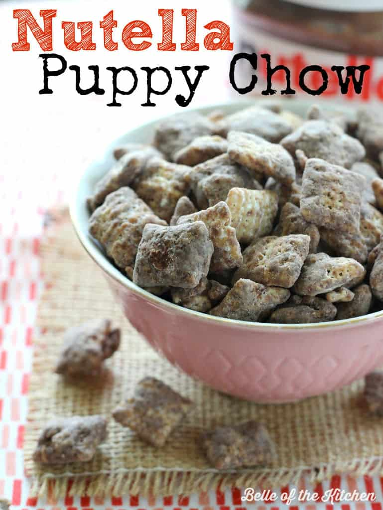 This Nutella Puppy Chow is an incredibly delicious and addicting snack! Made with Chex cereal, chocolate chips, Nutella, and powdered sugar.