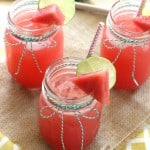 three glasses full of watermelon lemonade