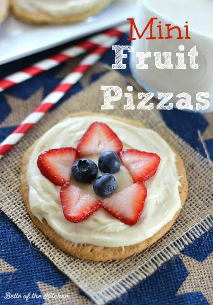 mini fruit pizzas on a burlap background