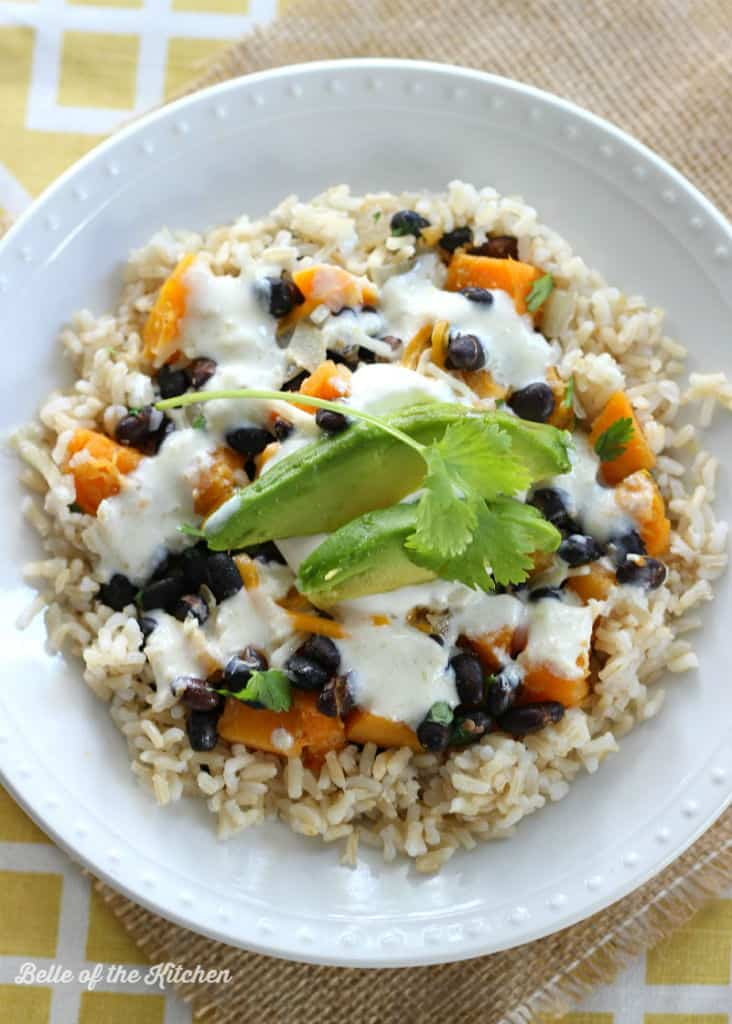 Squash & Black Bean Burrito Bowls with Greek Yogurt Salsa Verde
