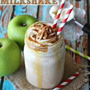 This Caramel Apple Milkshake is the perfect treat as we head into fall! Creamy, delicious, and swirled with cinnamon, it's like sticking a straw into a caramel apple and slurping up all those yummy fall flavors!