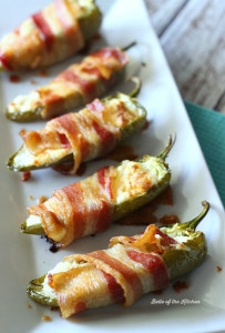 Jalapeño peppers stuffed with a savory ranch cream cheese, wrapped with bacon, and baked to a crispy, delicious perfection!