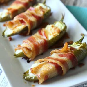 Bacon Wrapped Ranch Stuffed Jalapeño Peppers