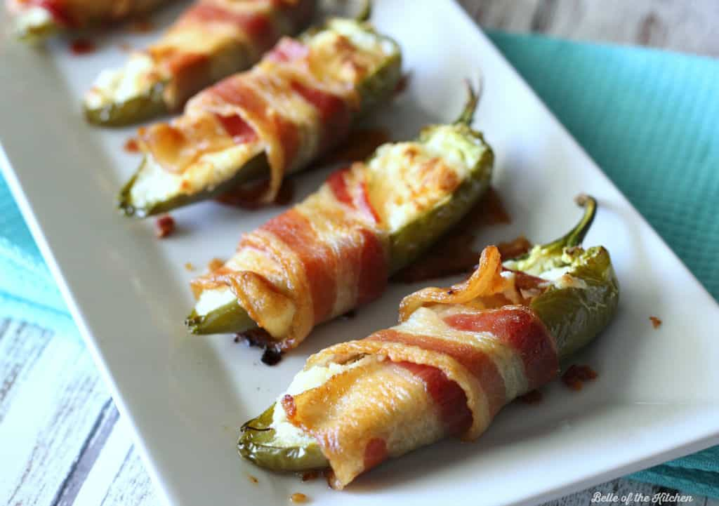 Bacon Wrapped Ranch Stuffed Jalapeño Peppers | Belle of the Kitchen