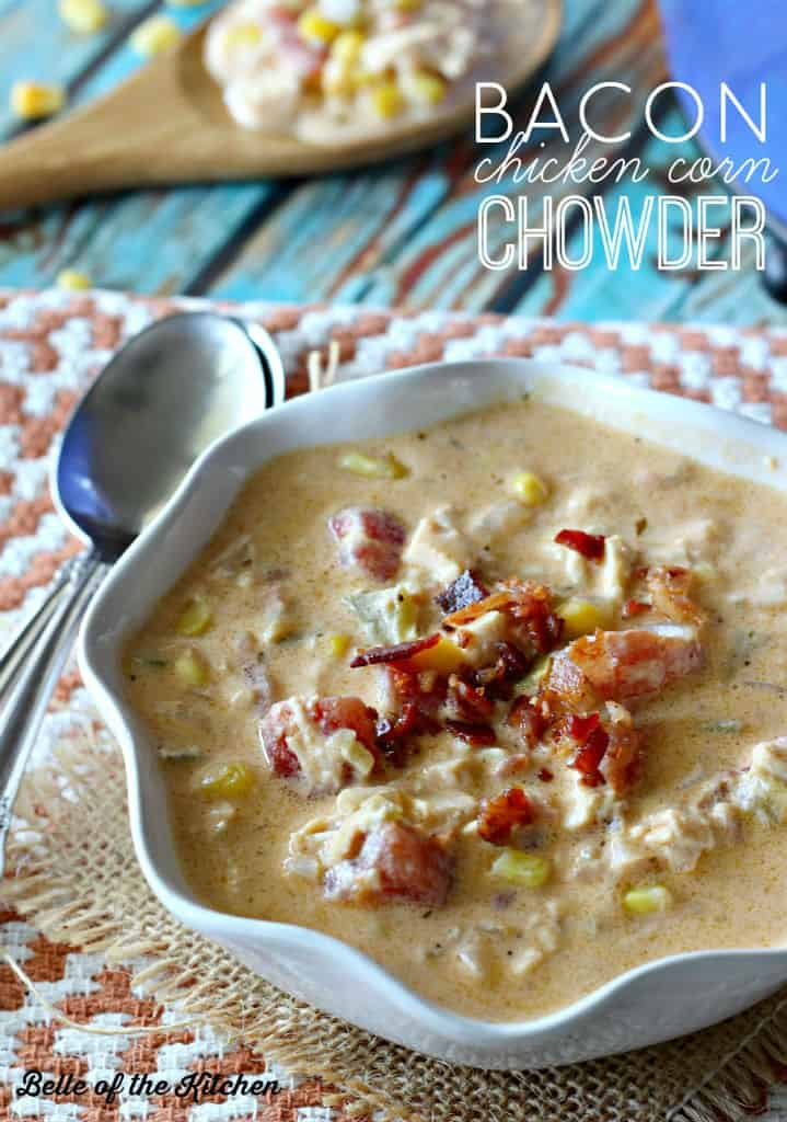 This Bacon Chicken Corn Chowder is the ultimate comfort food for all of those chilly evenings to come. Loaded with veggies, chicken, cheese, and smoky bacon, you may find yourself licking the bowl clean!