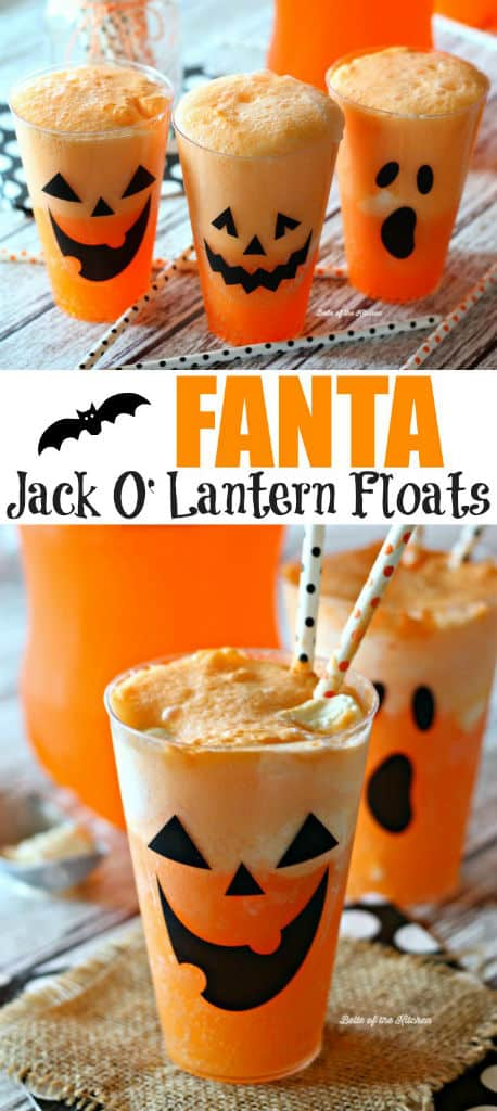 These Fanta Jack O'Lantern Floats are a sweet and spooky twist on a classic! Made with Fanta Orange soda and vanilla ice cream, they're the perfect, easy treat to impress kids and adults alike this Halloween!