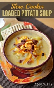 Yum! This soup is loaded with bacon, ham, cheese and potatoes. Perfect dinner for cold weather - Slow Cooker Loaded Potato Soup - Kenarry: Idea for the Home on Belle of the Kitchen