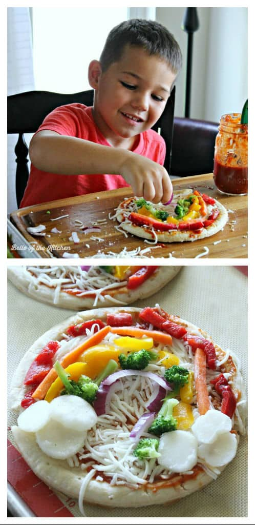 These Rainbow Veggie Pizzas are a fun way to get your kids involved in the kitchen, all while getting them excited to eat more veggies!