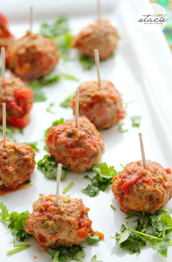Mexican Meatballs from Simply Stacie featured on Belle of the Kitchen