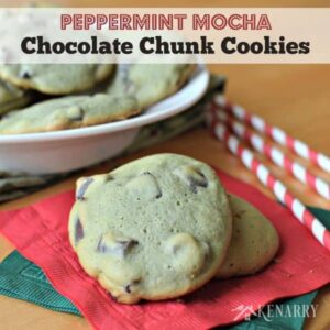 Delicious Peppermint Mocha Chocolate Chunk Cookies from Kenarry: Ideas for the Home - perfect for a Christmas dessert or holiday cookie exchange!