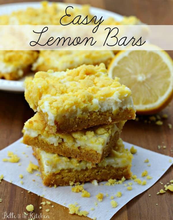 A stack of three lemon cheesecake bars