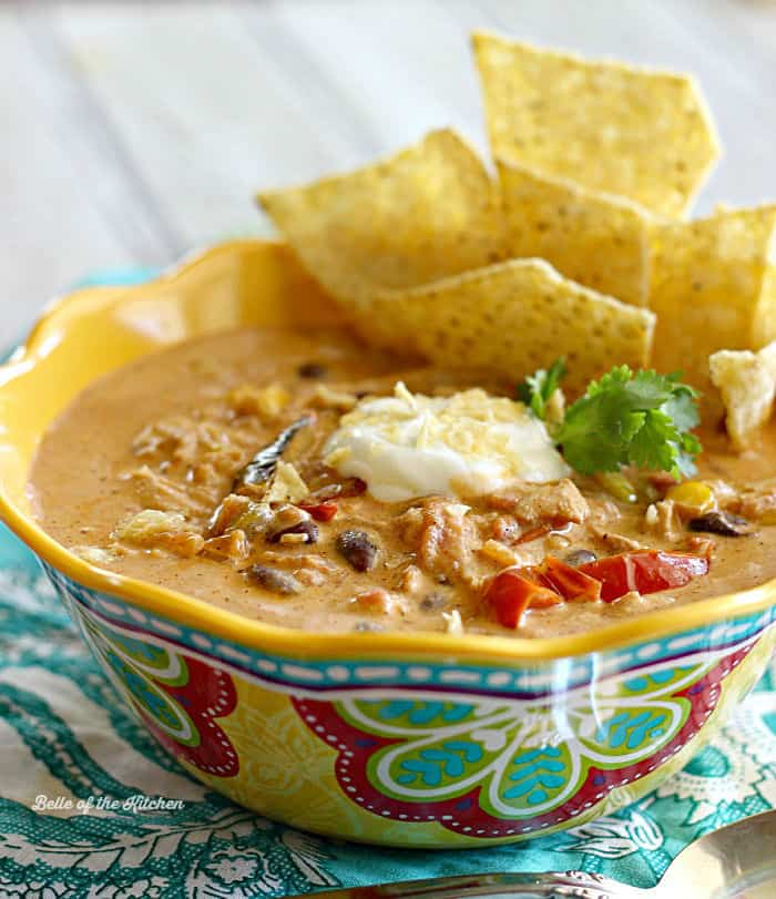 creamy cheese come together to make this delicious Chicken Fajita Soup ...