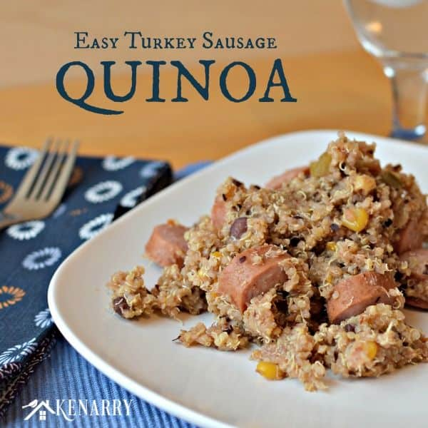I love quinoa! This Easy Turkey Sausage Quinoa has only 3 ingredients and is such a simple recipe for a delicious weeknight dinner!