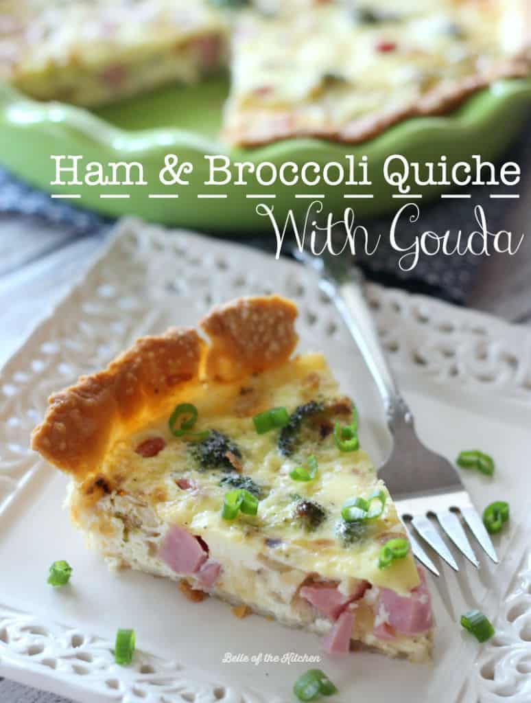 This Ham and Broccoli Quiche with Gouda is the perfect warm breakfast during the holiday season. This is a breakfast you'll want to wake up for!