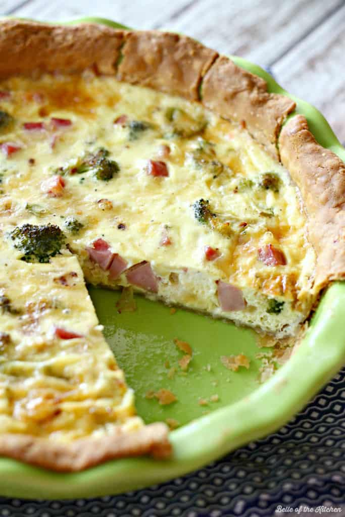 Ham and Broccoli Quiche with Gouda | Belle of the Kitchen