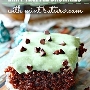 Mint Truffle Brownies with Mint Buttercream