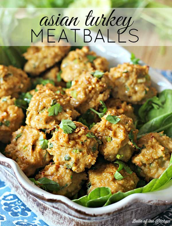 These Asian Turkey Meatballs are an easy, lightened up dinner made with lean ground turkey breast and plenty of Asian flavors. Serve these with a side of steamed veggies and brown rice for a healthy and yummy meal!