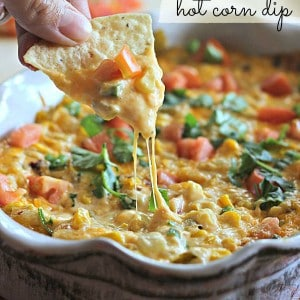 The ultimate appetizer filled with corn, cheese, and touch of chipotle. This dip is ALWAYS a hit and there is never any left over! It's is incredibly easy to throw together, too. MAKE THIS and I know you will LOVE it!