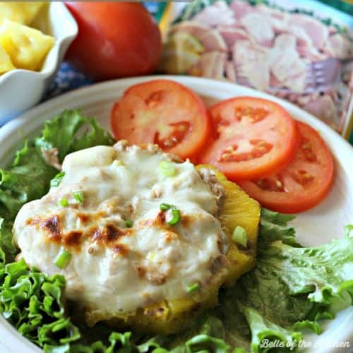 A fresh and healthy take on a classic tuna melt. A thick slice of juicy pineapple is topped with a scoop of fresh Hawaiian Tuna Salad, then grilled to perfection with a slice of melty cheese to finish it off!