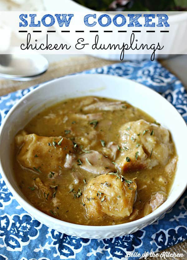 Easy slow cooker chicken and dumplings belle of the kitchen an easy version of the comfort food classic that simmers away all day in the forumfinder