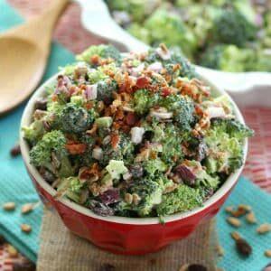 A bowl of broccoli salad