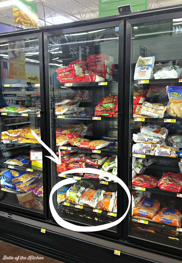 A store shelf filled with frozen potatoes