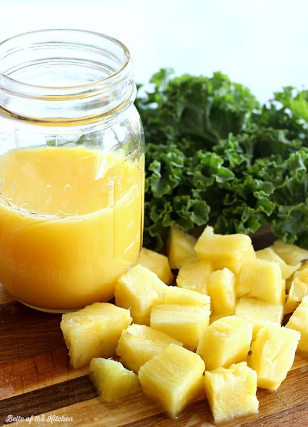 Start your day off right with this Pineapple Kale Smoothie! It's packed with tropical flavor and fresh greens to give you a healthy and refreshing boost to your morning. My toddler is a big fan of this one!