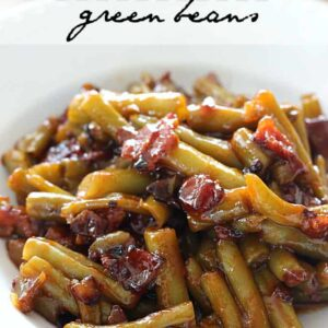 These Barbecue Green Beans are loaded with bacon, onions, and a homemade barbecue sauce. You'll never want to go back to plain green beans again!