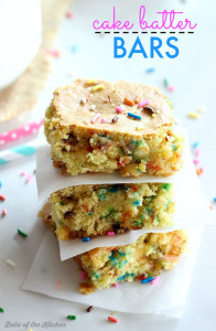 These Cake Batter Bars are chockfull of sprinkles and cake batter flavor! They are easy to make with the help of a cake mix.
