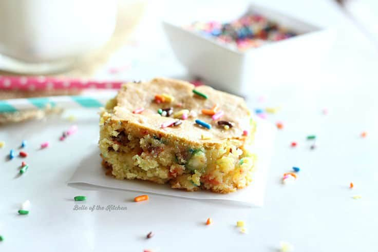 a cake batter bar topped with colorful sprinkles