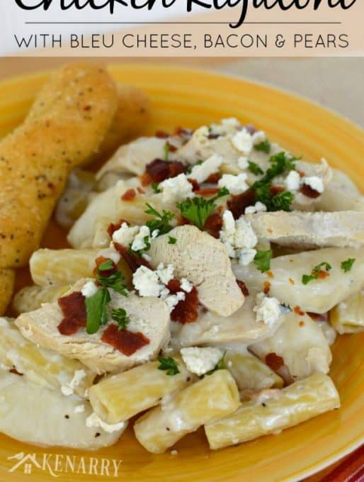 Chicken Rigatoni with Bleu Cheese, Bacon and Pears
