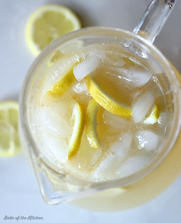 a pitcher full of lemonade