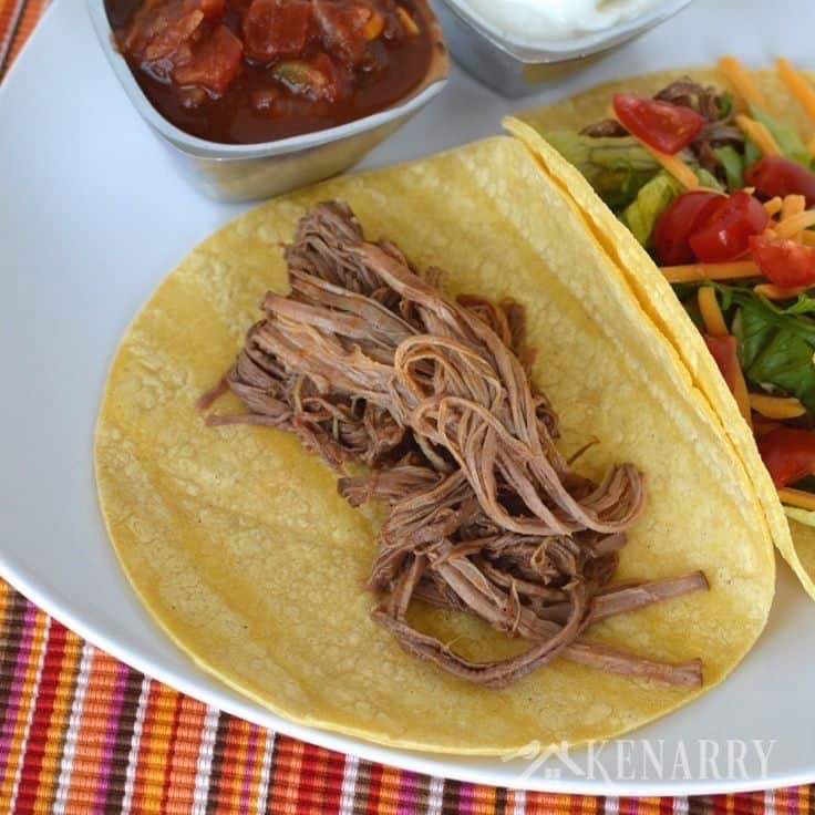 shredded beef on a taco shell on a plate