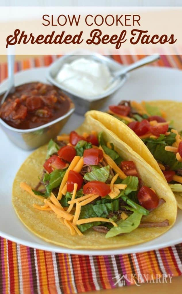 shredded beef tacos on a plate