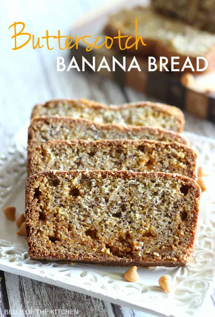 a loaf of banana bread cut into slices