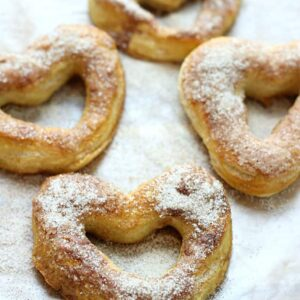 These Cinnamon and Sugar Soft Pretzels are sweet, chewy, and super easy to make!
