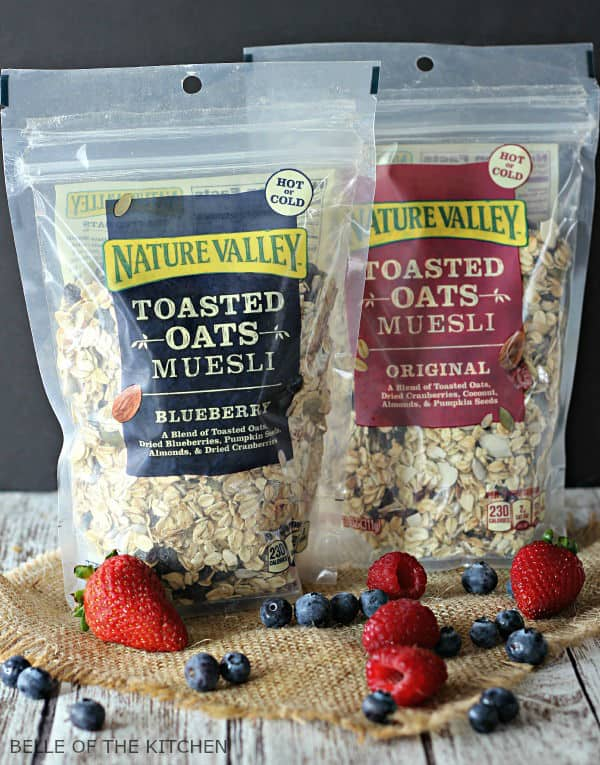 A close up of packages of muesli