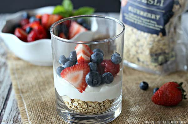 Greek Yogurt Cheesecake Parfaits can be served for breakfast, or are wonderful as a lightened-up dessert.