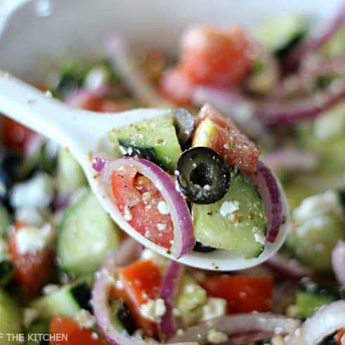 This Cucumber Greek Salad is light and refreshing, and full of healthy ingredients. With minimal prep, it makes any easy side dish for any meal!