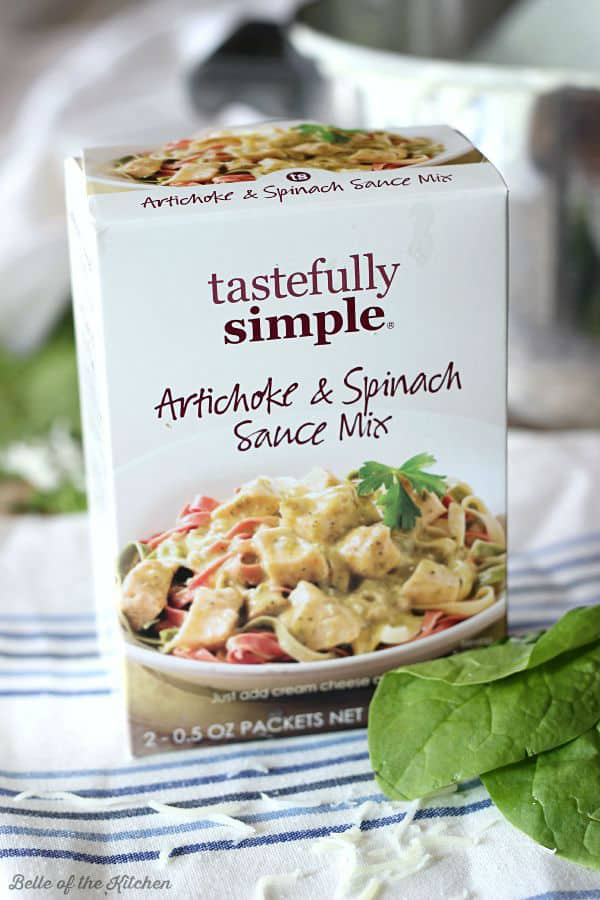 A box of Spinach and artichoke sauce mix