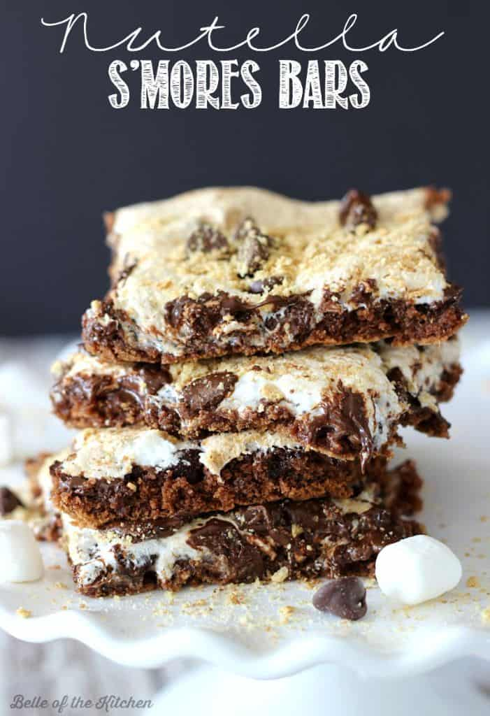 a stack of Nutella s\'mores bars