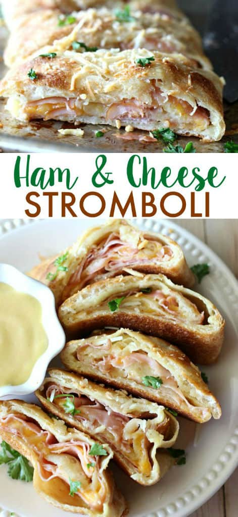 A plate of ham and cheese Stromboli with a bowl of honey mustard