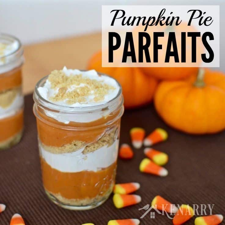 What a fun idea for a fall dessert! These Pumpkin Pie Parfaits in little jars are so cute and would be a great recipe to make for Thanksgiving or even Halloween.