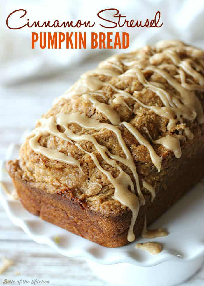 Moist and delicious Cinnamon Streusel Pumpkin Bread is sprinkled with a streusel topping, then drizzled with a rich maple glaze. The perfect fall treat!