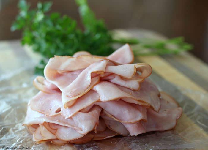ham slices on a cutting board
