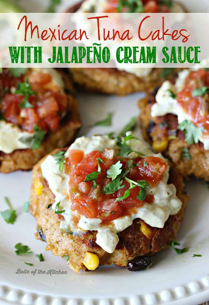 Mexican Tuna Cakes - full of flavor, gluten-free, and topped with a lighter jalapeño cream sauce. Such an awesome way to spice up canned tuna!